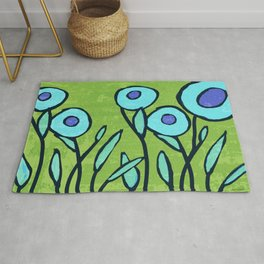 Hippie Flower Garden turquoise and avocado Rug