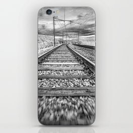 Moving Train Track Black and White iPhone Skin