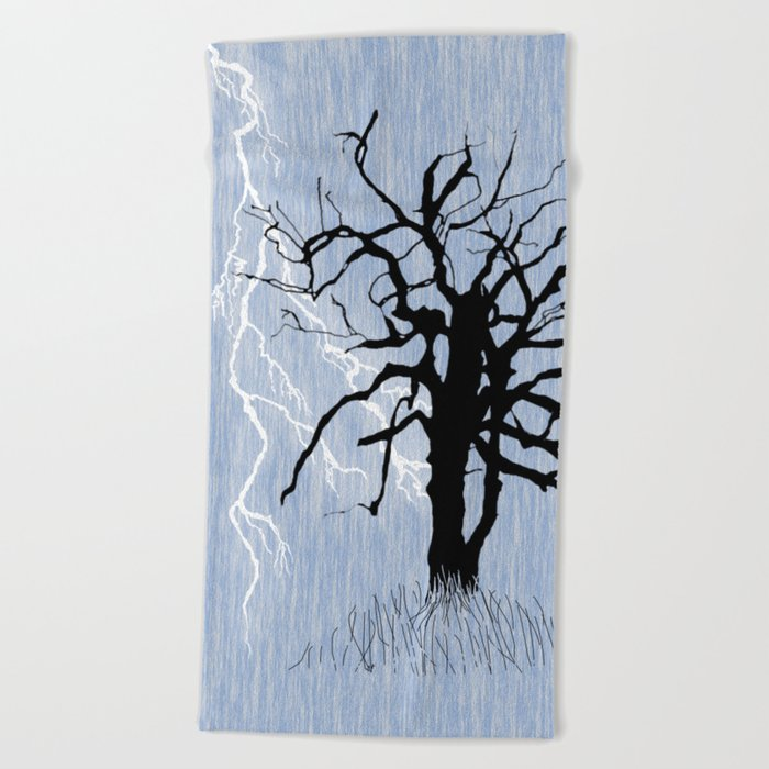 Gnarled Tree and Lightning Beach Towel