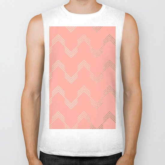 Simply Deconstructed Chevron White Gold Sands on Salmon Pink Biker Tank