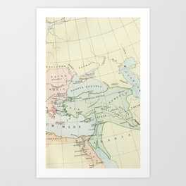 Old Map of The Roman Empire Art Print