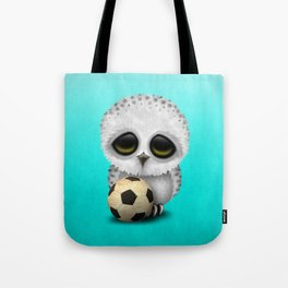 Cute Baby Owl With Football Soccer Ball Tote Bag