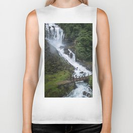 Painterly Waterfall in Norway with bridge in foreground -Landscape Photography Biker Tank
