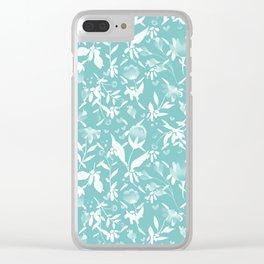 Colourscape Summer Floral Pattern Aqua Sky Clear iPhone Case