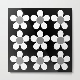 Spring Daisies - Geometric Monochrome Design in White and Grey on Black Metal Print