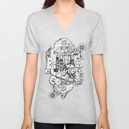 DINNER TIME FOR THE ROBOT Unisex V-Neck