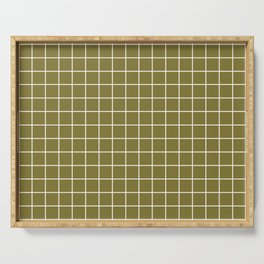 Spanish bistre - green color - White Lines Grid Pattern Serving Tray