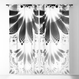 Silver Shikoba - Beautiful Black on White Fractal Paisley Forming Feathered Wings Blackout Curtain