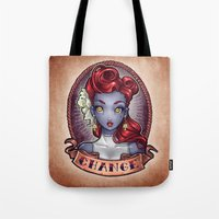 pinup Tote Bags featuring CHANGE pinup by Tim Shumate