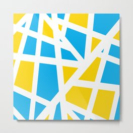 Abstract Interstate  Roadways Aqua Blue & Yellow Color Metal Print