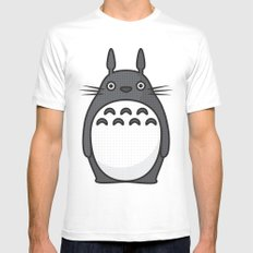 Totoro Pop Art - Blue Version MEDIUM White Mens Fitted Tee
