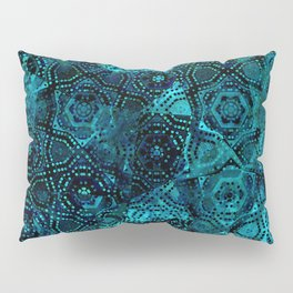 Starry Deep Blue Night Sky , Abstract Geometric Pattern with Moon Lit Domino Stars Pillow Sham