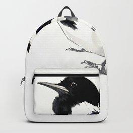 Magpie, bird art, minimalist magpie bird painting Backpack