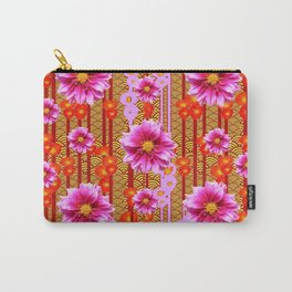 Lilac Purple Dahlia Flowers Orange Abstract Pattern Carry-All Pouch