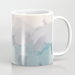 Teal Aqua Purple Lavender Abstract Wall Art Ocean Clouds Painting Print Coffee Mug