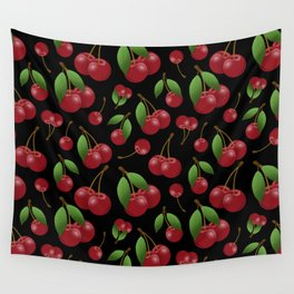 Sweet red cherries pattern on black Wall Tapestry