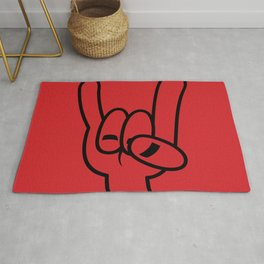 Heavy Metal Devil Horns Black Line Rug
