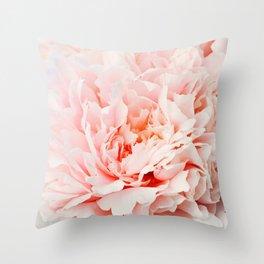 Peony Flower Photography, Pink Peony Floral Art Print Nursery Decor A Happy Life  - Peonies 1 Throw Pillow