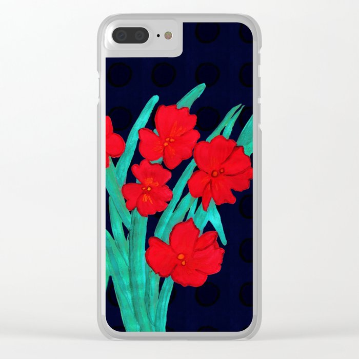 Red flowers gladiolus art nouveau style Clear iPhone Case