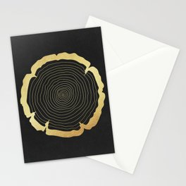 Metallic Gold Tree Ring on Black Stationery Cards