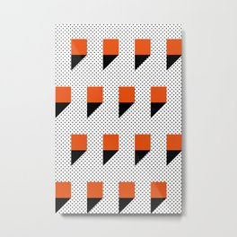 A lot of orange 3d Commas, planted in a carpet with black dots. Metal Print