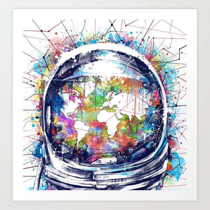 astronaut world map colorful art print
