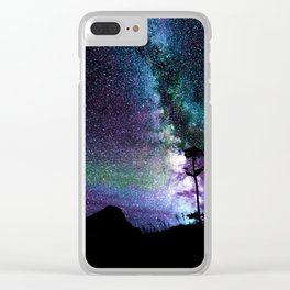 Colorful Milky Way Landscape Teal Violet Clear iPhone Case