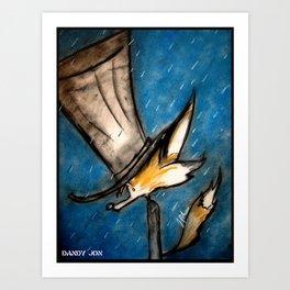 Dandy Fox: Rain Walk Art Print