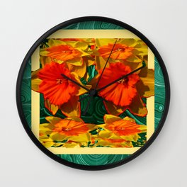 Green Malachite Patterns  & Dafflodils Still Life Wall Clock
