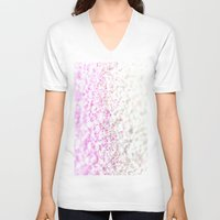 glitter V-neck T-shirts featuring GLITTER by Monika Strigel