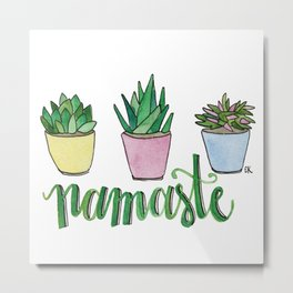 Namaste Succulents by Eileen Graphics Metal Print