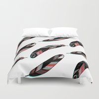 feathers Duvet Covers featuring FEATHERS by JoanaRosaC