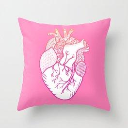 Designer Heart Pink Throw Pillow