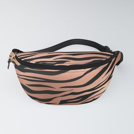 Rose Gold Metallic Stylish Tiger Fur Stripes Print Fanny Pack