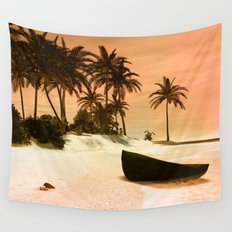 Sunset over the island Wall Tapestry