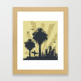 Sunny beach with palm surfer in Hawaii Framed Art Print
