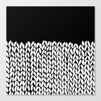 Half Knit  Black Canvas Print