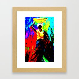 African Lady Carrying Fruit, Abstract Print Framed Art Print