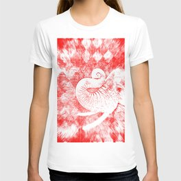 Elephant Snow White on Red T-shirt