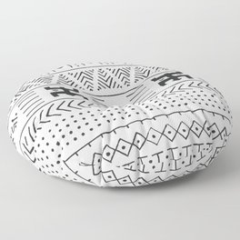 Black and white tribal ethnic pattern with geometric elements, traditional African mud cloth, tribal Floor Pillow