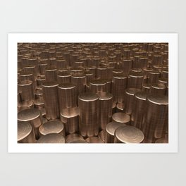 Pattern of brushed copper cylinders Art Print