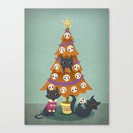 Meowy christmas sugar skulls Canvas Print