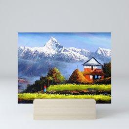 Panoramic View Of Beautiful Everest Mountain Mini Art Print