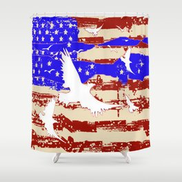 AMERICANA FLAG & WHITE EAGLES FROM  SOCIETY6 BY SHARLESART. Shower Curtain