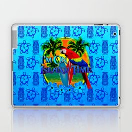 Island Time Surfing Blue Tiki Laptop & iPad Skin