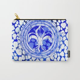 Fleur De Lis Blue And White Pattern Carry-All Pouch