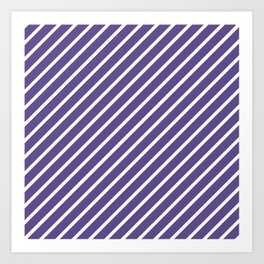 Ultra Violet Tight Diagonal Stripes Art Print
