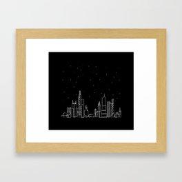 Chicago skyline by night Framed Art Print