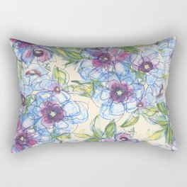 Big Blue Poppies Rectangular Pillow
