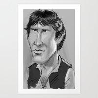 han solo Art Prints featuring Han Solo  by Garabatostudios
